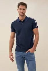 Polo Neck Half Sleeve Branded Mens Side Stripe Collar T Shirt, Size: l xl xxl