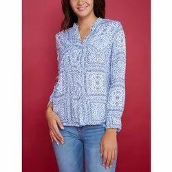 Full Sleeve Rayon Ladies Printed Shirt