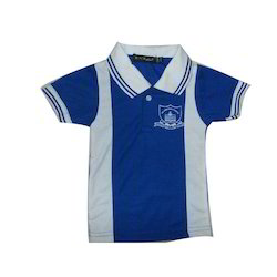 Blue And White Cotton Boys School T Shirt, Size: Large
