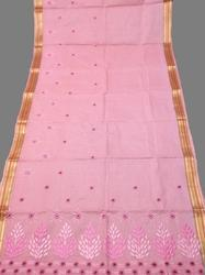 Light Pink Resham Embroidery Cotton Saree