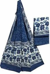 Unstitched Dabu Indigo Printed Cotton Dupatta Suit Set