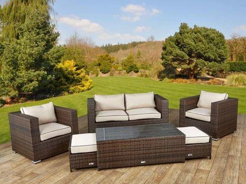 Brown Garden Furniture Sets: Brown Garden Rattan Sofa Set, Rs 58000 /set, Chairwalla