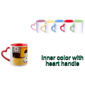 Ceramic Inner Color Heart Handle Mug, Packaging Type: Box, For Home