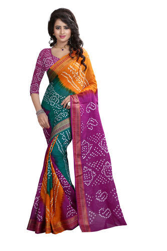 d4550eae9d Cotton Zari Leriya Bandhani Saree With Blouse, Rs 899 /piece | ID ...
