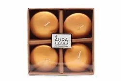 AuraDecor Pack of 4 Gold Floating Nugget Candles