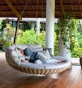 Round Rattan Swing Bed