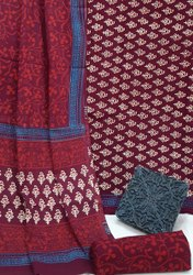 Exclusive Bagru Hand Block Printed Cotton Dress Material With Cotton Dupatta.