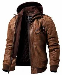 Leo Torresi Men Brown Leather Motorcycle Jacket with Removable Hood-Brown