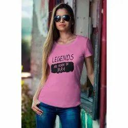 Ladies Half Sleeve Printed Round Neck T Shirt, Size: S