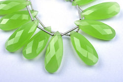 1 Matched Pairs-10x25mm Neon Prehnite Quartz Microfaceted Large Size Pear Pair Briolette Beads