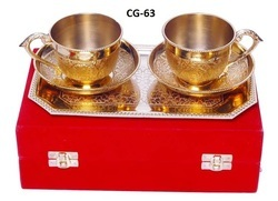 Brass Tea Cup Plate Set With Tray