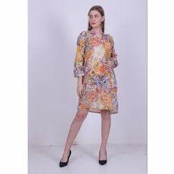 Party Wear Multicolor Ladies Floral Printed Crepe Short Dress, Size: S-l