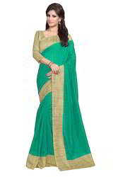 Mirchi Fashion Green N Beige Bhagalpuri Silk Casual Saree