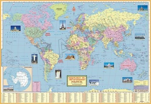 Full Colour Lmainated Paper World Political For Political State Map