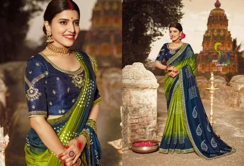Ladies Blue and Green Printed Cotton Saree