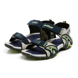 Mens Light Grey Navy Parrot Green Synthetic Leather Sports Sandals