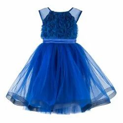 Knee Length Blue Multilayered Kids Party Wear Dresses