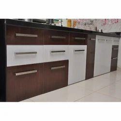 raunaq brown and white modern pvc kitchen cabinets