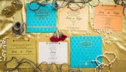 3 Fold Style Paper Indian Wedding Invitation Card Design With Motifs Printed, Size: 19.3cm X 19.3cm