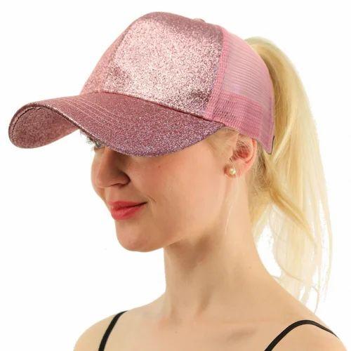 Hot Pink Glitter Ponytail Baseball Mesh Women Caps ef6ee5302949