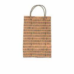 Linen Carry Bag (L) - orange waves print, jute rope handles