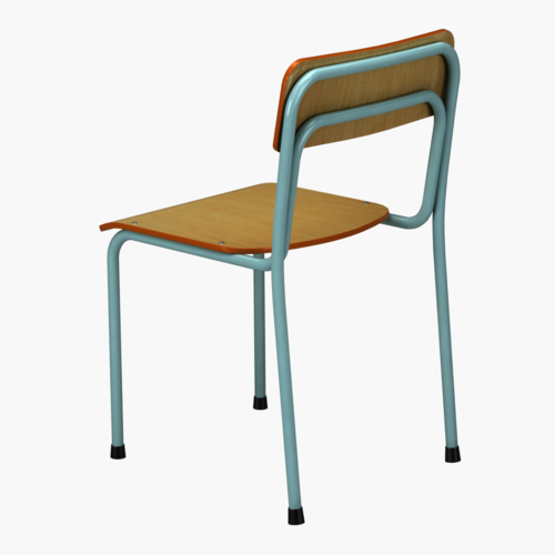 Metal And Wood School Chair 365x365x380 440 Mm