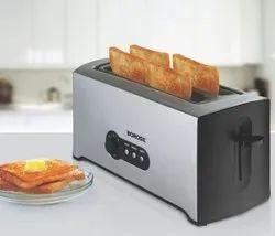 Stainless Steel 1500w Borosil Krispy 4 Slice Pop-Up toaster for Home