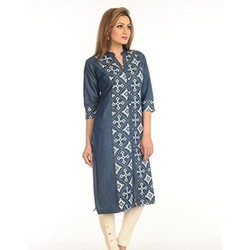 Cotton Denim Printed Kurti
