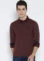 Burgundy Printed Regular Fit Polo T Shirt
