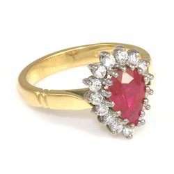 Pear Ruby Yellow Gold Ring