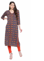 Grey Rayon Women's A-line Printed Kurti, Machine Wash