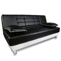 Adorn India Alexa 3 Seater Sofa Cum Bed Leatherette (Black & Grey)