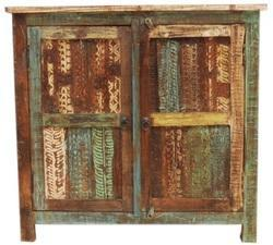 Reclaimed Wood Carved Panel Sideboard