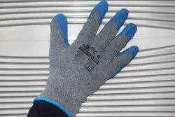 Blue On Grey Latex Coating Gloves