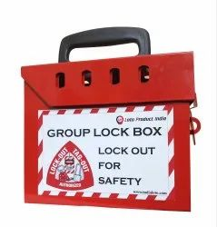 Red Powder Coated Material Group 8 Holes Lockout Box, Industrial Use
