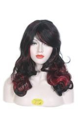 100% Natural Black Burgundy Long Soft & Curly Hair Synthetic Wig