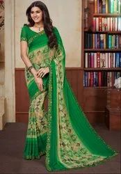 Party Wear Kelly Green And Beige Georgette Print Saree