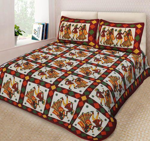 HKFjaipur Multi Colored Jaipuri Cotton Bedsheets