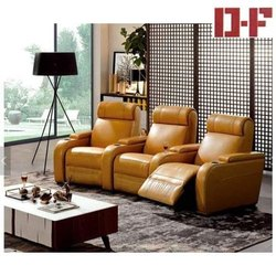 Brown Leather Modern Pattern Sofa Set