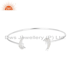 Fish Design 925 Silver White Zircon Gemstone Cuff Bangle