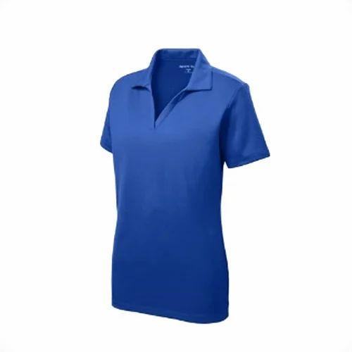 1ecc6a52 Ladies Half Sleeve Blue Plain Polo T Shirt, Size: S, M & L, Rs 250 ...