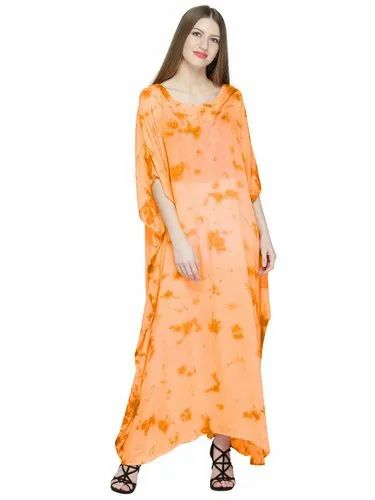 cfc9e7a9afb Skavij Womens Kaftan Nightgown Tunic Embroidered Rayon Tie-Dye Dress Beach  Cover Up Plus Size
