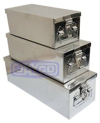 Silver Stainless Steel Storage Box for Pharmaceutical / Chemical Industry