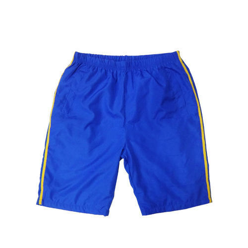 Blue, Yellow Polyester School Sports Short