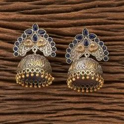 Bollywood Indo Western Jhumki Earring with Two Tone Plating 90646