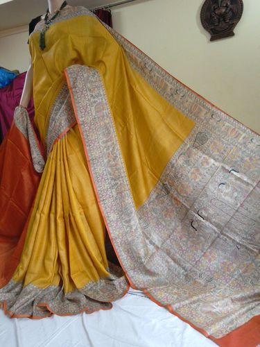 82dc627a56 Printed Tussar Madhubani Silk Saree, Laxmipati Balaji Handloom   ID ...