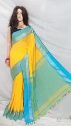 Formal Wear Best quality temple designer handloom saree, 6.3 m, hand weaved