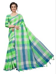 Cotton Silk Party Wear Green Saree With Blouse Piece