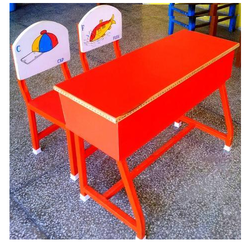 Single Desk With 2 Printed Laminated Back Chairs Front Zali