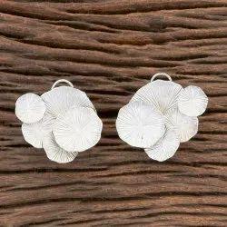 Silver Brass Matte Rhodium Plated Designer Tops Earring 406306